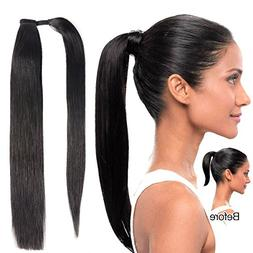 "20""Human Hair Ponytail Extensions Wrap Around Ponytails Clip"