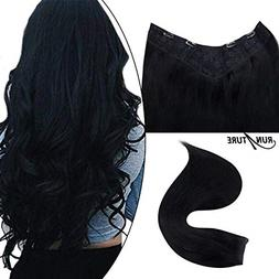 RUNATURE 20 Inches V Clip in Hair Extensions Color 1 Jet Bla