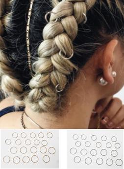 20 Metal Hair Hoops, Braid Rings, Dread Clip Pin, Bohemian H