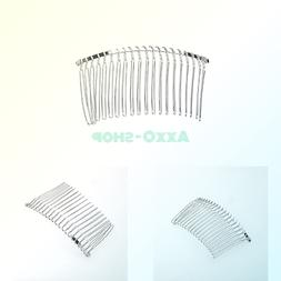 Pixnor 3pcs 7.8cm 20 Teeth Fancy DIY Metal Wire Hair Clip Co