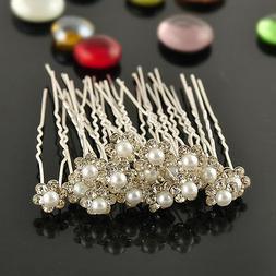 20pcs Bridal Wedding Flower Crystal Diamante Rhinestones Pea
