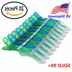 20pc Green+Blue Salon Hair Styling Clips Sectioning Plastic