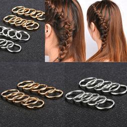 20pcs/set Women Boho Hip-Hop Braid Gold Silver Ring Hair Cli