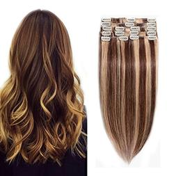 "#4/27 Clip in 100% Remy Human Hair Extensions 8""-24"" Grade 7"