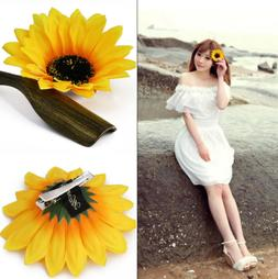 2PC Women Sunflower Flower Hair Clip Accessories Barrette Ha