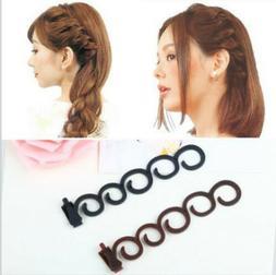 NEW 2Pcs Side Hair Styling French Braid Clip Magic Stick DIY