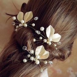 2pcs Wedding Bridal Pearl Flower Crystal Hair Pins Bridesmai