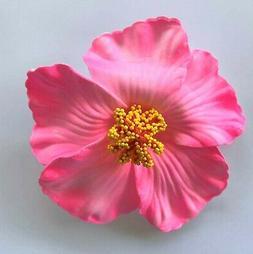 3.5 Bright Pink Hibiscus FOAM Flower Hair Clip Wedding Cruis