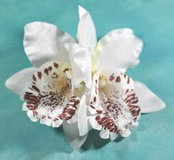 "3.5"" Creamy White Double Cymbidium Orchid Flower Hair Clip L"