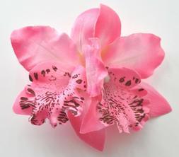 """3.5"""" Pink Double Cymbidium Orchid Flower Hair Clip Luau Wedd"""
