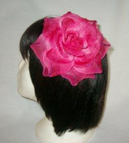3 in 1 Glittered Flower Rose Hair Clip #8239 Corsage-Brooch-