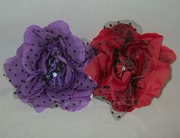 3 In 1 Polka Dot Mesh Hair Clip/Brooch/Corsage #2478