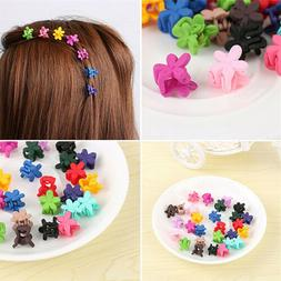 30*Mix Colored Girls Kids Baby Mini Flowers Hairs Claw Jaw C