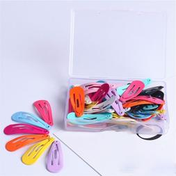 30PCs Fashion Women Candy Color Paint Hair Snap Clip Hairpin