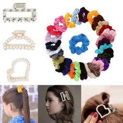 30Pcs Velvet Hair Scrunchies Elastics Hair Ties Scrunchy + 3