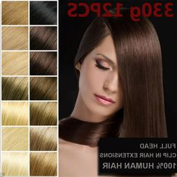 330g 12PCS 7A+ Luxury Thick Clip In 100%Real Remy Human Hair