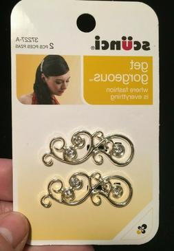 37227 a 2pcs silver barrette hair clip
