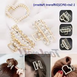 3PCS Fashion Pearl Hair Clip Hairband Comb Bobby Pin Barrett