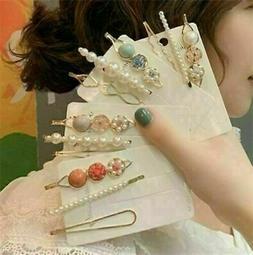 3PCS/Set Women's Girls Pearl Hair Clip Crystal Gold Hairpin