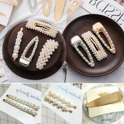 Women Elegant Pearl Leaf Hair Clip Hairband Comb Bobby Pin B