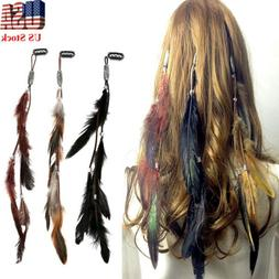 3x Indian Festival Feather Hippie Headpiece Tassel Hair Comb