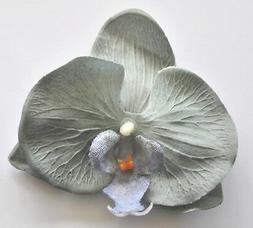 """4"""" Gray Grey Orchid Silk Flower Hair Clip Luau Wedding Cruis"""