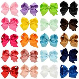"Araluky 4"" Hair Bow Clips 20 Pcs Grosgrain Ribbon Bows for G"