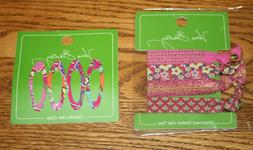 Vera Bradley 4 HAIR CLIPS AND 4 SHIMMERY STRETCH HAIR TIES e