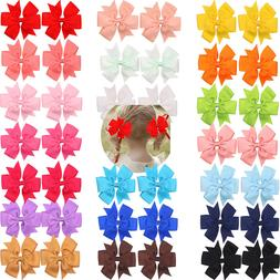 40 Pcs 20 Pair Baby Girls Pinwheel Bows Alligator Hair Clips