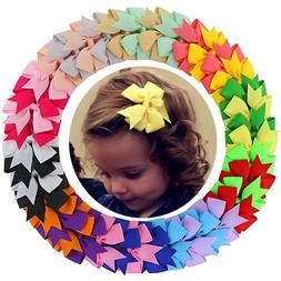 "40 Pcs  3"" Girls Grosgrain Ribbon Boutique hair bows Clips f"