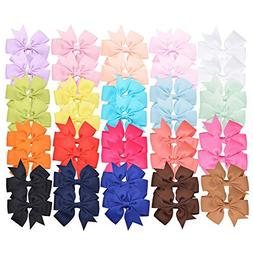 "Prohouse 40 PCS 3"" Baby Girls Ribbon Hair Bow Clips Barrette"