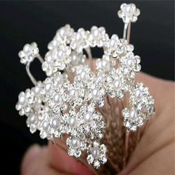 40pcs Wedding Bridal Crystal Bling Pearl Flower Hair Pins Cl