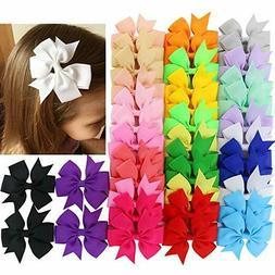 40Piece Boutique Grosgrain Ribbon Pinwheel Hair Bows Alligat