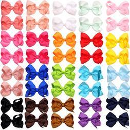 "40Piecse Boutique Grosgrain Ribbon Pinwheel 3"" Hair Bows All"