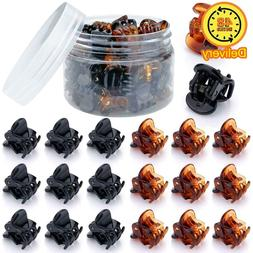 48 Pcs Mini Hair Clips For Girls And Women(Black And Brown