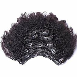 8inch 4b,4c Afro Kinky Curly Clip In Human Hair Extension Vi
