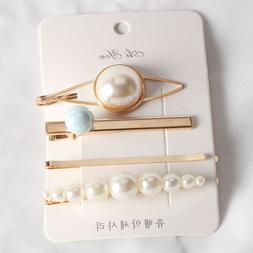 4Pcs Fashion Pearl Hair Clip Hairband Comb Bobby Pin Barrett