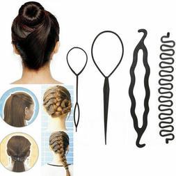 4Pcs Hair French Braid Topsy Tail Clip Magic Styling Stick M
