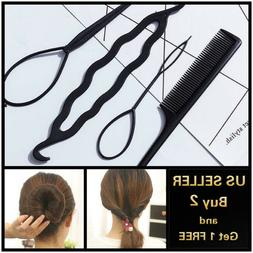 4Pcs Hair French Braid Topsy Tail Clip Styling Stick DIY Bun