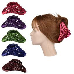 """5"""" Large Jaw Clip Jumbo Hair Claw w/Pearlized Leaf design Wo"""
