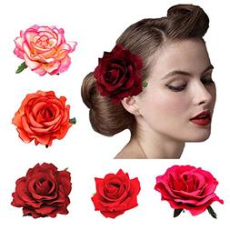 DRESHOW 5 Pack Flower Brooch Head Ornament Bride Women Rose