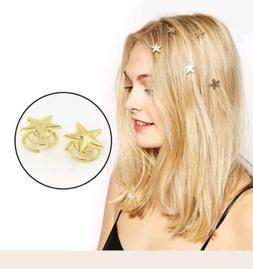 5 pcs. Star Gold Swirl Hair Pins Clip Hairpin Barrettes Gift