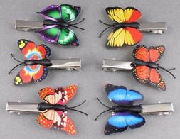 6 Butterfly hair clips barrette butterflies clip set of 6 mu