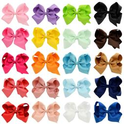 "Araluky 4"" Hair Bow Clips 20 Pcs Grosgrain Ribbon Bows for G"