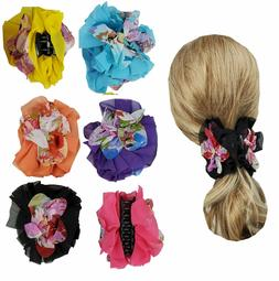 6 Hair Clip Jaws Comb with Flowers for Women Girl Hair Claw