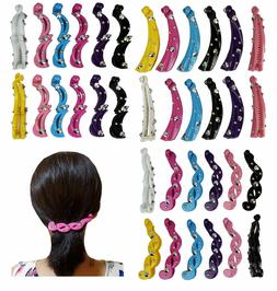 6 pcs  Banana Clip Hair Combs Interlocking with Studs Color