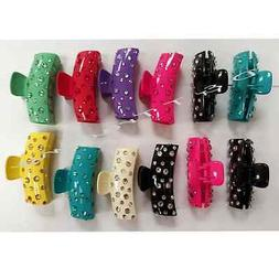 6 pcs Women Hair Clip Jaw Clamp Comb Claw Rhinestones Mix Co