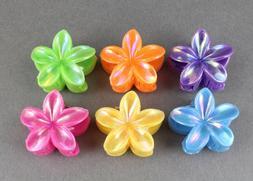 6 plumeria hair clips barrette hawaiian flower clip set of 6