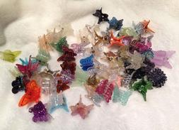 60 mixed mini plastic butterfly hair clips