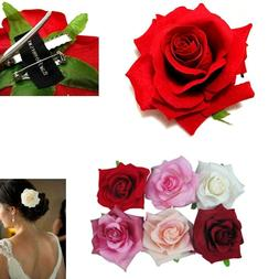 6pc Hair Clip Rose Assorted Color Hairpin Bridal Flower Broo